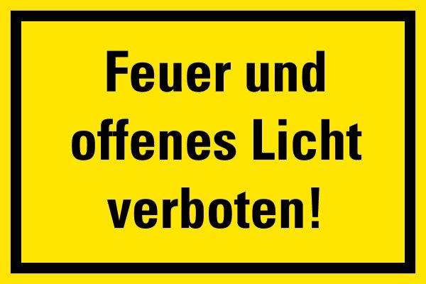 """HG01 Hinweisschild """"Feuer und offenes Licht verboten"""""""