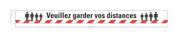 """Warnband """"Veuillez garder vos distances"""" 50 mm x 16 m"""