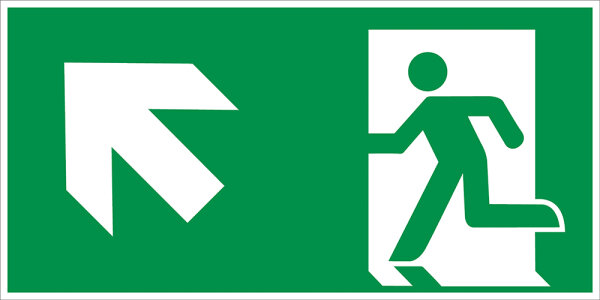 """SR42 Rettungszeichen """"Rettungsweg links aufwärts"""""""