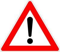 """Verkehrszeichen """"! Gefahrenstelle"""" (SL)"""