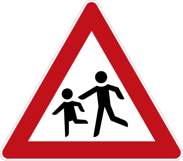"""Fußgänger!"" Dreieckige VZ"