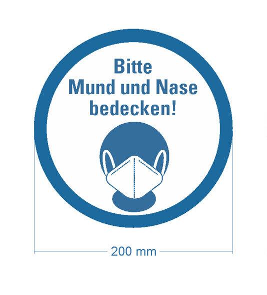"""Bodenmarkierung """"Bitte Mund und Nase bedecken"""" Ø 200 mm - frontales Bild"""