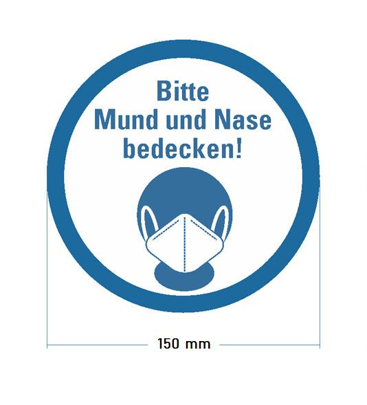 """Aufkleber """"Bitte Mund und Nase bedecken"""" Ø 150 mm - frontales Bild"""