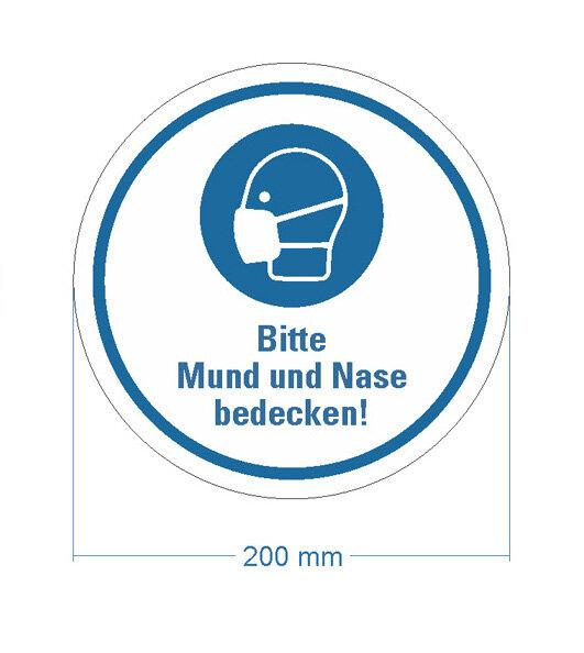 """Bodenmarkierung """"Bitte Mund und Nase bedecken"""" Ø 200 mm - seitliches Bild"""