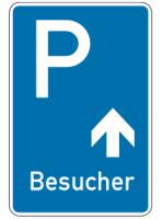 """Parkplatzkennzeichen """"Besucher geradeaus"""""""