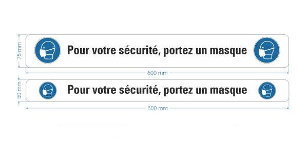 """Warnband """"Pour votre sécurité, portez un masque"""", Stücke - seitliches Bild"""