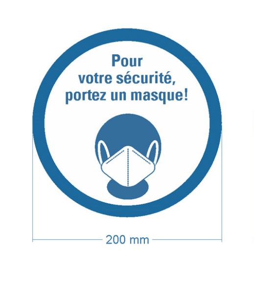 """Bodenmarkierung """"Pour votre sécurité, portez un masque"""" Ø 200 mm - frontales Bild"""