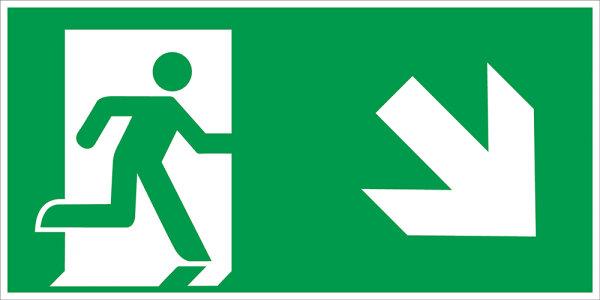 """SR46 Rettungszeichen """"Rettungsweg rechts abwärts"""""""