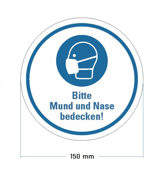 """Aufkleber """"Bitte Mund und Nase bedecken"""" Ø 150 mm"""