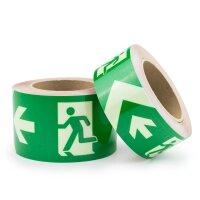 Nachleuchtendes Markierungsband mit Rettungszeichen